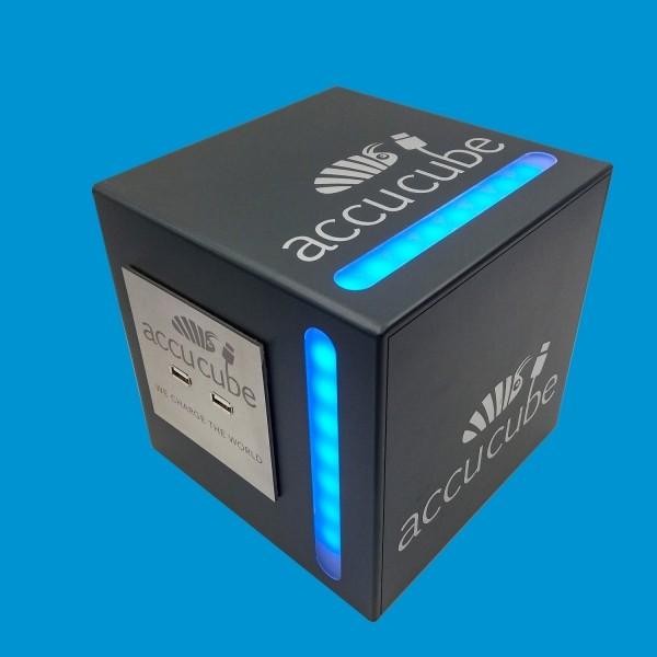 Cube Ausführung Kunststoff anthrazitgrau mit seitlicher LED-RGB-Beleuchtung Sonderanfertigung